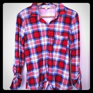 2/25! No Comment Plaid Button Down Size L
